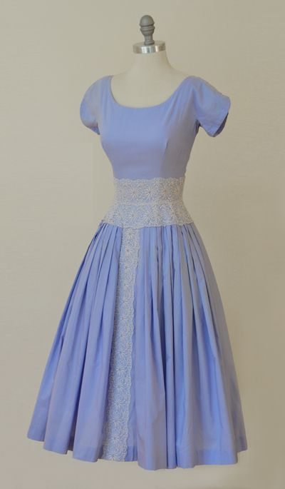 1950s Periwinkle Princess Eyelet Trim Vintage Fit and Flare Party Dress: