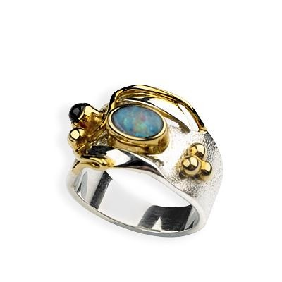 Opal and Water Sapphire Ring. Designed by Paula Bolton and hand-crafted in Bali by craftsmen whose skills have been handed down through generations. Combining 925 silver and 18-carat gold-plating with carefully chosen gemstones captures the elusive effect of light on water. Bolton's tribute to Monet's 'The Water-Lily Pond' is a wearable work of art! Not only is it a distinctive reminder of Monet's water-lily canvases, it's also a beautiful jewellery gift for any lover of Impressionism.: Sapphire Rings, Art, Jewellery Gift, Beautiful Jewellery, Light, 90 Opal