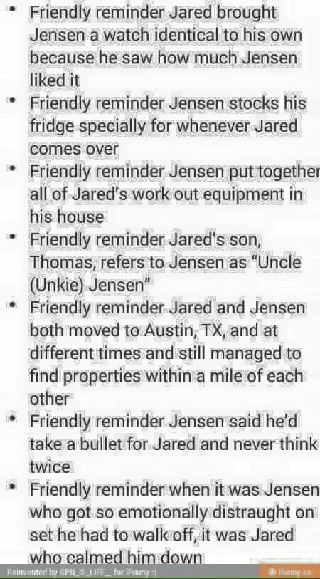 (Unka Jensen not Unkie Jensen) -Rumor says: When Jared and Jensen got into a fight in season 1 Jensen went to go find Jared to talk it out and Jared was crying.