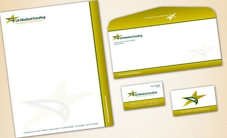 Stationery design for a medical financing company in Sparta, NJ.