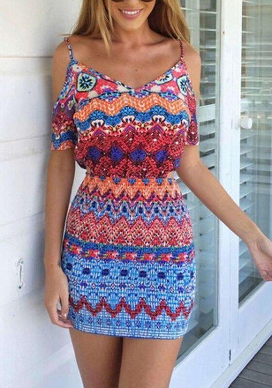 Blue Geometric Condole Belt Tribal Print Split Sleeve Off The Shoulder V-neck Sexy Bodycon Mini Dress