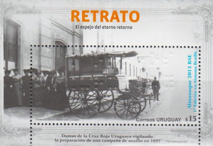 Uruguay - Red Cross Nurses preparing for a help campaign in 1897. Stamp souvenir sheet, 2013.