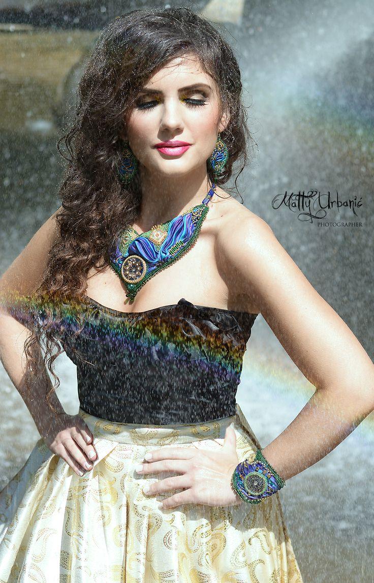 "♥ ""Rainbow"" ♥ - model / actress: Kristína Mečko - makeup: Katarína Kondákorová Make-up  Shibori Supplies / set: CHAROIT -  skirt of golden luxury brocade is a sewing workshop: LUXURY Day - handmade"