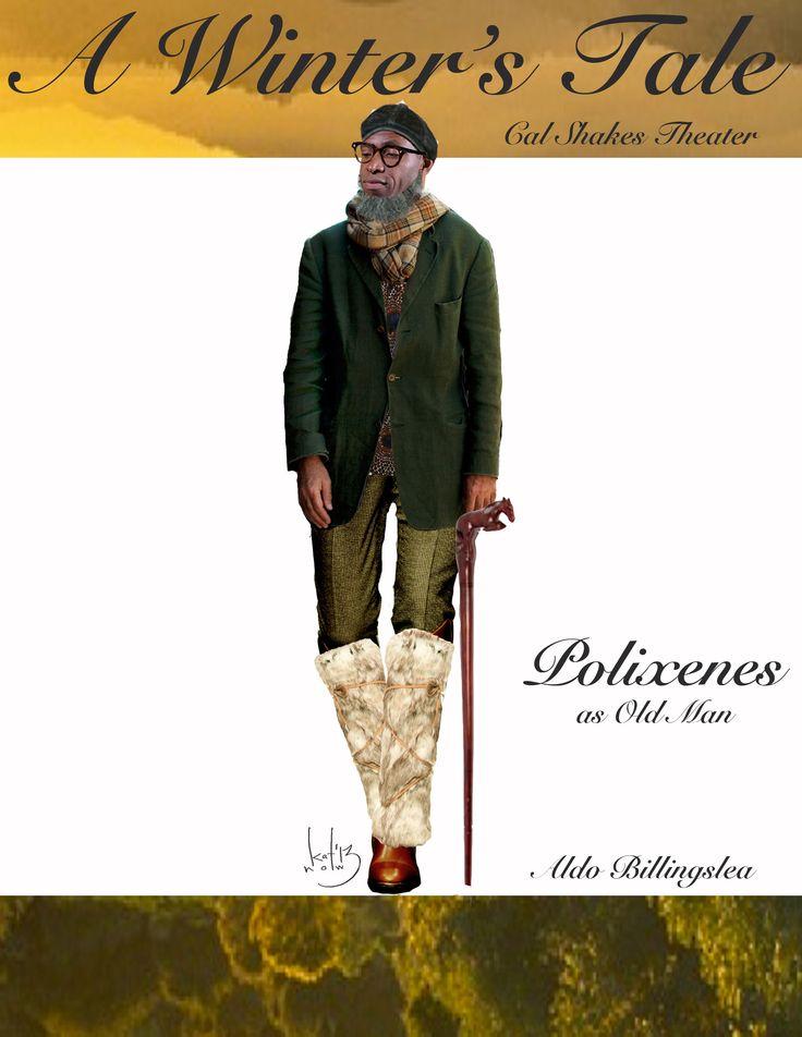 Katherine Nowacki's costume sketch of Polixenes (in disguise!) in A Winter's Tale. Actor: Aldo Billingslea: Nowacki Costumes, Costumes Sketch