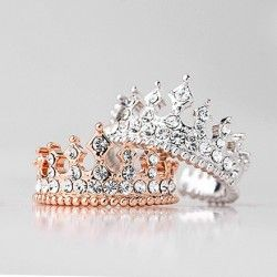 Luxury Gothic Fashion Crown Shape With Crystal Woman's Ring, 2 Colors - USD $23.95