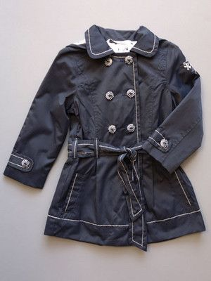 """3 Pommes Navy Blue Girls Trench Coat  Sizes 6-12 NEW From the """"Nautical Night Collection"""" by 3 Pommes, a spring trench coat for girls."""