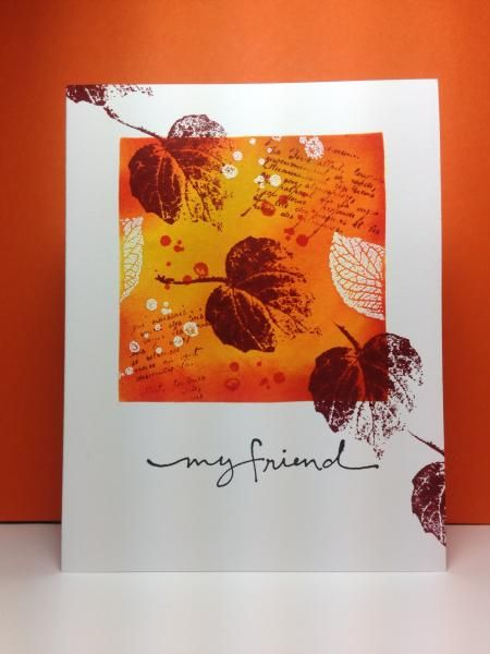 "SU - French Foliage, fall, autumn First I masked off a square and then embossed some partial leaves, the text and the ""splats"". Then I blended inks till I liked how it looked, took off the mask, stamped the leaves, and sentiment. It always sounds so easy when you write just those few steps! Linking to WT495 (Autumn Leaves) and Curtain Call (colors): http://curtaincallchallenge.blogspot.com/2014/09/curtain-call-inspiration-challenge.html One Layer Simplicity Challenge (use a ..."