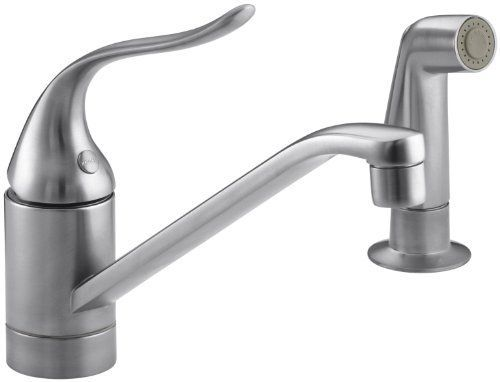 KOHLER K-15176-F-G Coralais Single Control Kitchen Sink Faucet, Brushed Chrome Color: Brushed Chrome, Model: 15176-F-G, Hardware Store. Flexible stainless steel braided supply hoses provide an easy, fast installation. 3/8 fitting on hoses fastens directly to stops for convenient hookup. Chrome sidespray for chrome kitchen faucets provides matching finish spray and faucet. Contemporary/transitional styling fits with many decorating schemes. High-temperature limit stop allows you to preset…