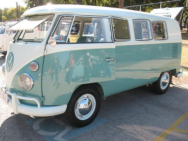 Mint Green and White Two Tone 1963 VW Bus in Fort Worth, TX - Driver Side Front View