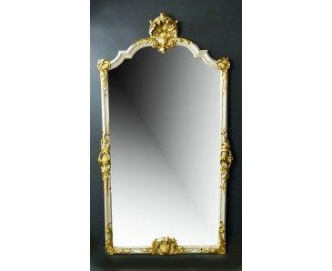espejo francs de finales del siglo xix de grandes dimensiones policromado con dorados