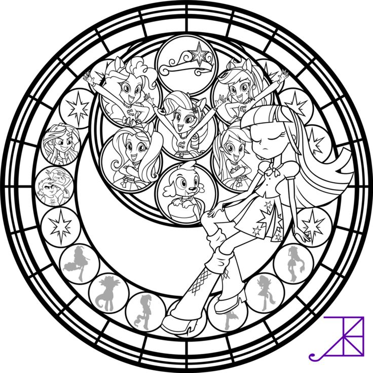 Equestria girls stained glass coloring page by akili for My little pony legend of everfree coloring pages