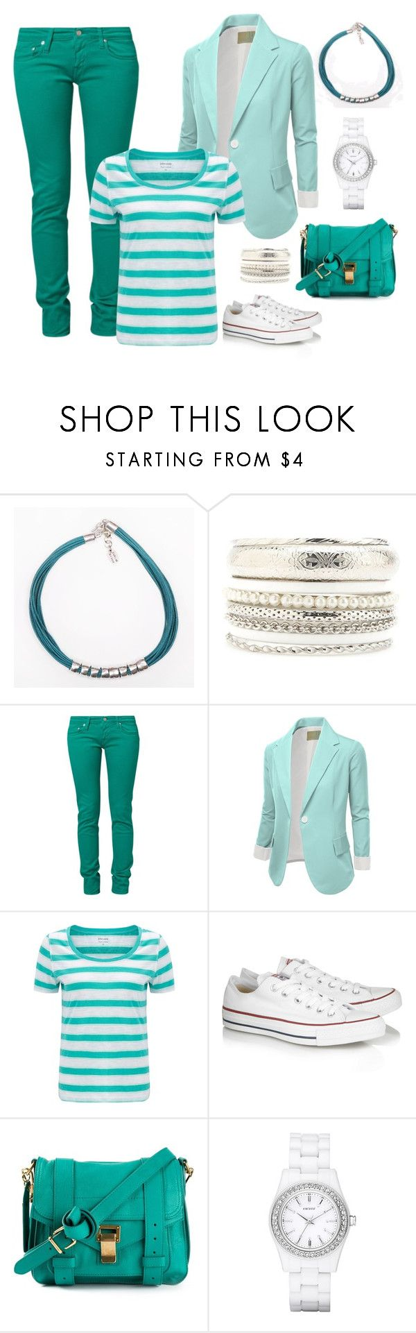 """""""Striped T-shirt. Shadows of turquoise. Jeans & converses."""" by harmoniq ❤ liked on Polyvore featuring Charlotte Russe, Carhartt, J.TOMSON, John Lewis, Converse, Proenza Schouler and DKNY"""