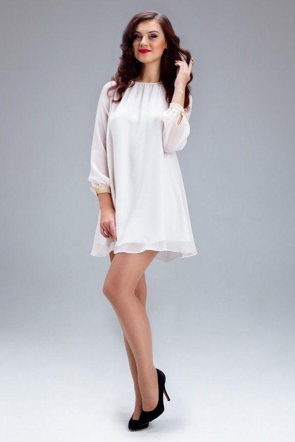 Белое шифоновое платье с длинным рукавом - My Kate - 3200.00грн. - - - - - #Лук #Лукбук #Женское #Украина #Фэшн #Мода #Бренд #Дизайнер #Одежда #Платье #Белый #Шелк  #Look #Lookbook #Woman #Women #Ukraine #Fashion #Brand #Designer #Clothes #MyKate #Silk #White
