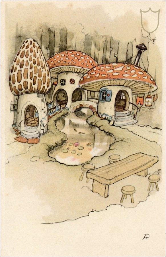 Mushroom Village anton pieck