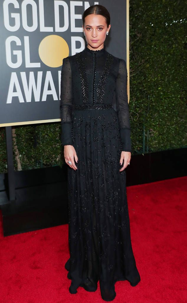 Alicia Vikander from 2018 Golden Globes Red Carpet Fashion