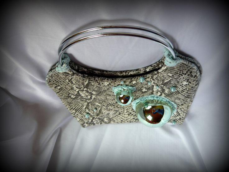 Handmade by Judy Majoros -Bubble Python  leatherette handbag.Recycled bag