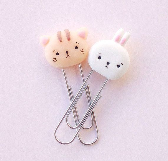 Set of two kawaii polymer clay kitten and bunny paper clips