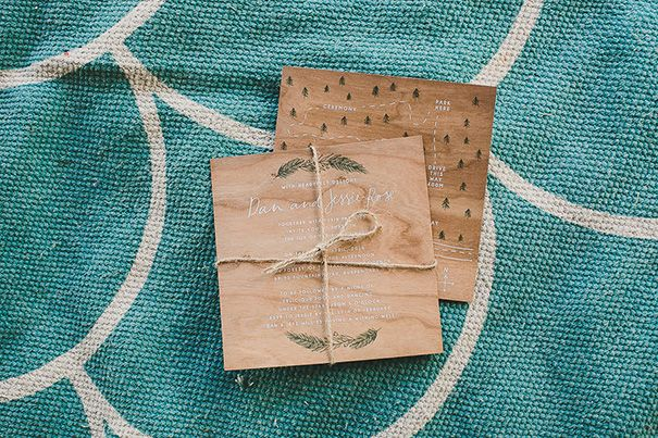 White Ink On Cherry Wood, Wedding Invitation As Featured in Hello May Magazine!