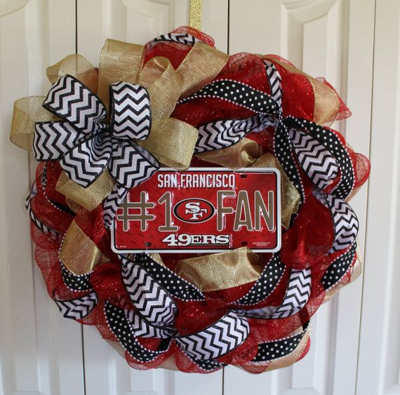 San Francisco 49ers wreath. Custom professional or college sport team deco mesh wreath.  San Fracisco 49ers wreath.  Made to order wreath on Etsy, $68.00