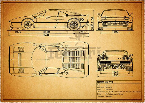 195 best car art images on pinterest cars car drawings and car ferrari 288 gto blueprint art print by mark rogan malvernweather Gallery