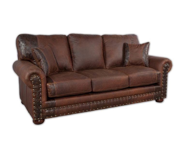 Sofa Beds The Jesse James Sofa Sleeper is made in the USA from a full grain distressed leather and tooled leather accents Features a hardwood frame sinuous wire