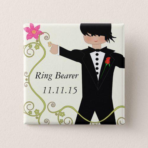 Ring Bearer BowTie Wedding Badges Button
