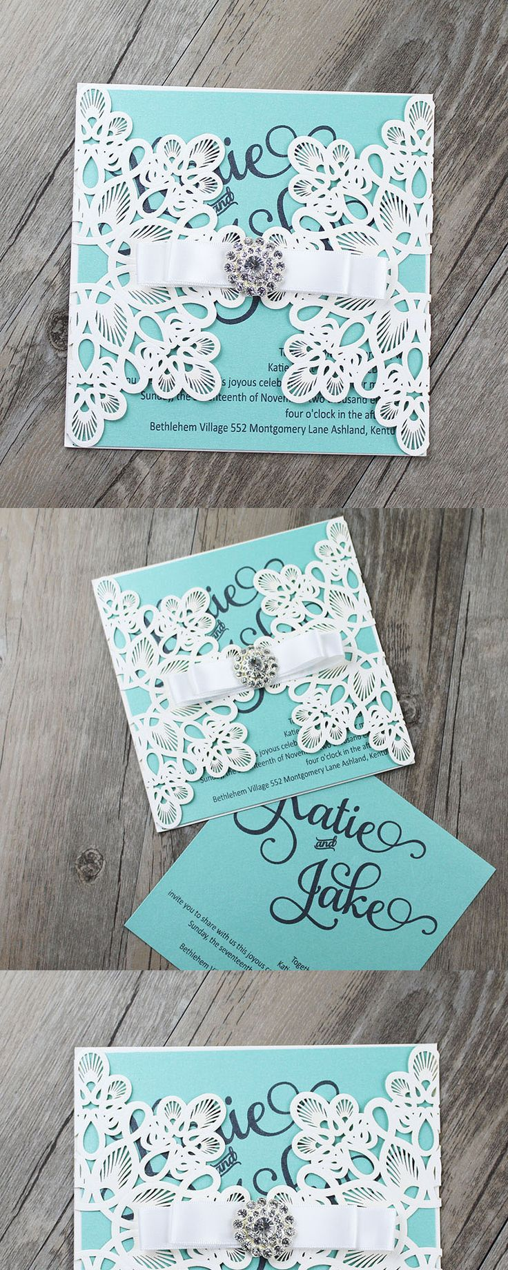 Tiffany Blue Invitations, Tiffany Blue Wedding Invitations, Tiffany Blue  Laser Cut Invitations