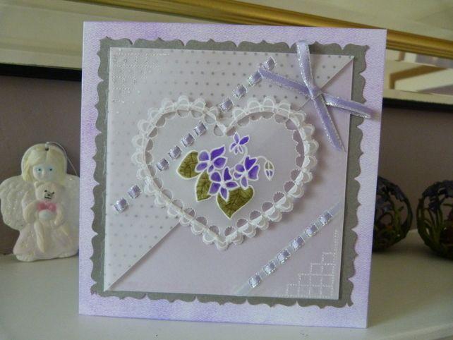Romantic Violet Heart Card £3.00