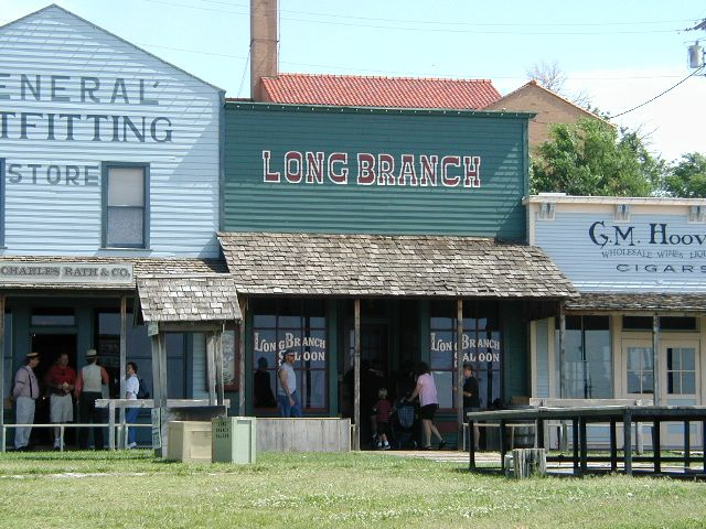 Dodge City, Kansas. Reenactments of Gunfights, Boot Hill Museum, Boot Hill Cemetery, and Long Branch Saloon.