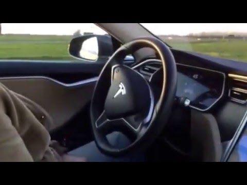 Tesla Model S Autopilot taking a tight turn