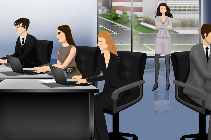Office scene customized illustration for eLearning with Articulate Storyline, Techsmith Camtasia, and Adobe Captivate.