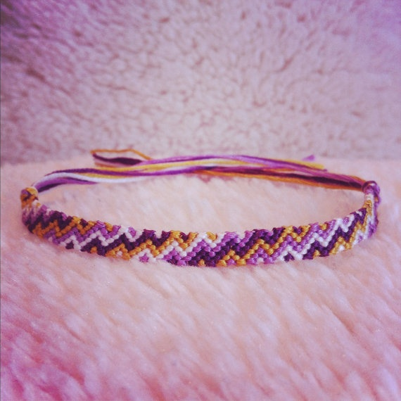 Handmade embroidery floss friendship bracelet by rebecca