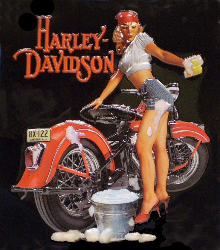 Harley pin-up cleaning her bike!