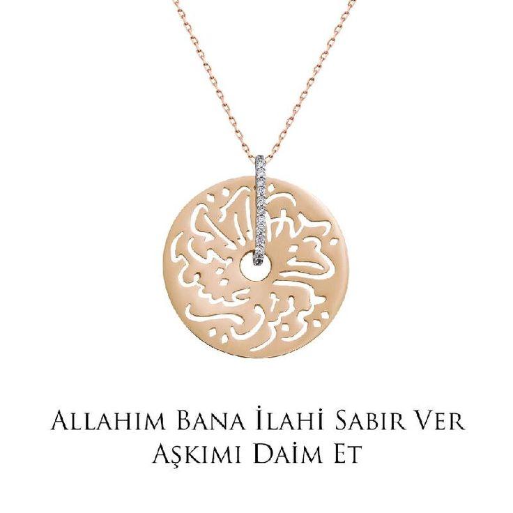 Ramazan ayında tüm dualarımız sevdiklerimiz için... Altın Seb'a Kolye - Allah'ım bana ilahi sabır ver aşkımı daim et!