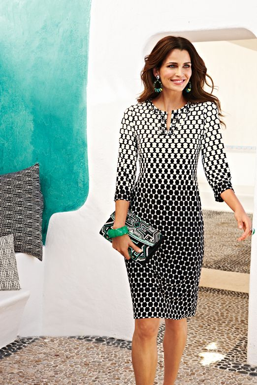 Dotted Knee-Length Dress #chicos