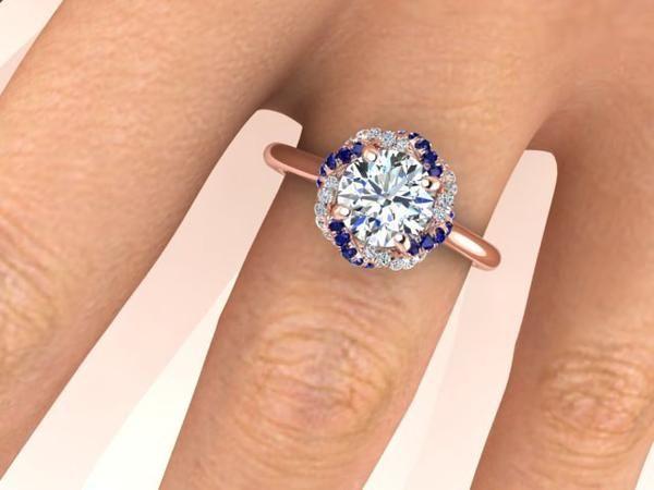 Blue Sapphires and White Diamonds Ring, Forever One Moissanite Engagement Ring. - Engagement Rings