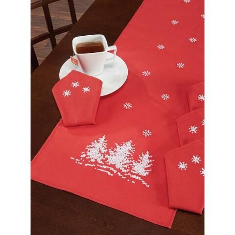 Santa Claus Coming to Town Table Runner Stamped Cross-Stitch - Herrschners