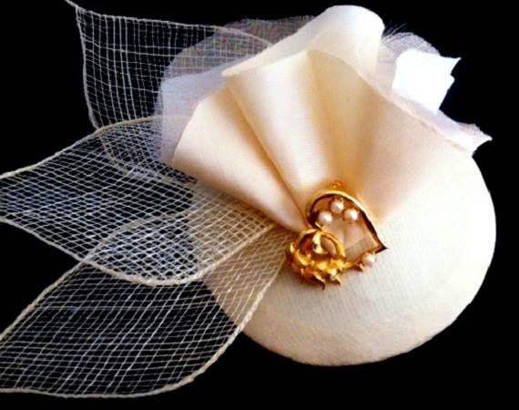 dark ivory ladies wedding hat www.abirdinthehair.com