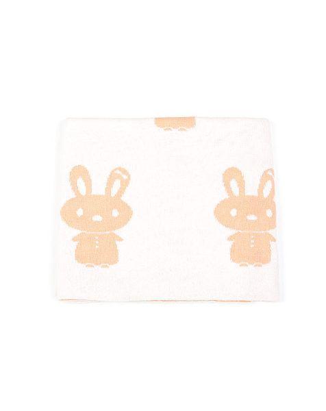 Indus Bunny Baby Blanket Sherbert/Ivory   Krinkle Gifts