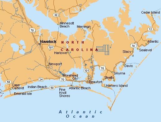 Crystal Coast NC Area Map-Morehead City, Beaufort, NC
