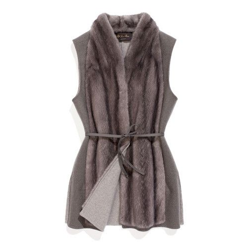 Vest in double baby cashmere jersey that is super-soft and very warm. The front in mink fur is crafted from whole pelts that form a naturally draped look. The structured collar warmly cradles the neck and creates the effect of a scarf when worn under other pieces.