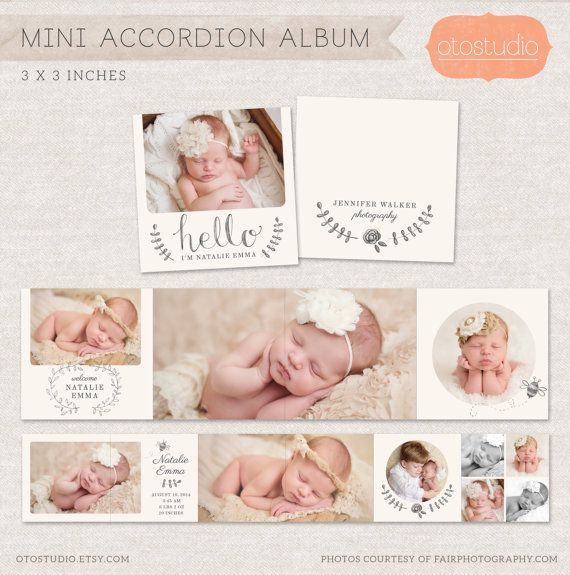 3×3 Mini Accordion Album Template – Newborn album template for photographers MA0…