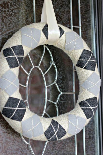 Looks like argyle, but easier than knitting! Fun winter wreath.
