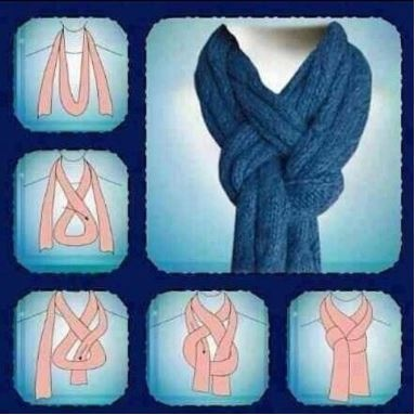 A clever way to wear a long knit scarf.
