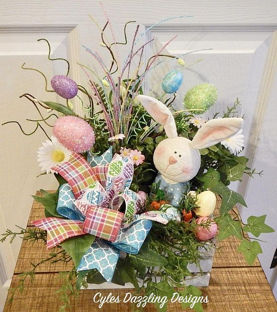 Easter Bunny Centerpiece-Easter Table Arrangement-Easter