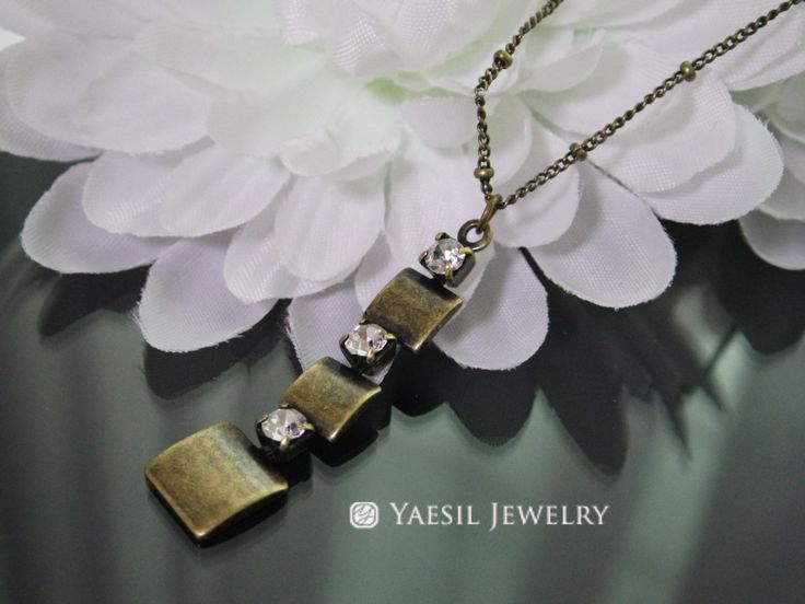 Vintage Necklace, Antiqued Brass Triple Square Drop Necklace, Birthday Gift, Mother's Day Gift by YaesilJewelry on Etsy