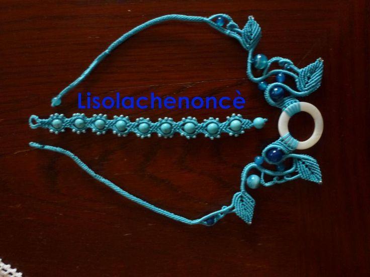 Collana e braccialetto qzzurro mare in macrame con turchese e agata lace di…