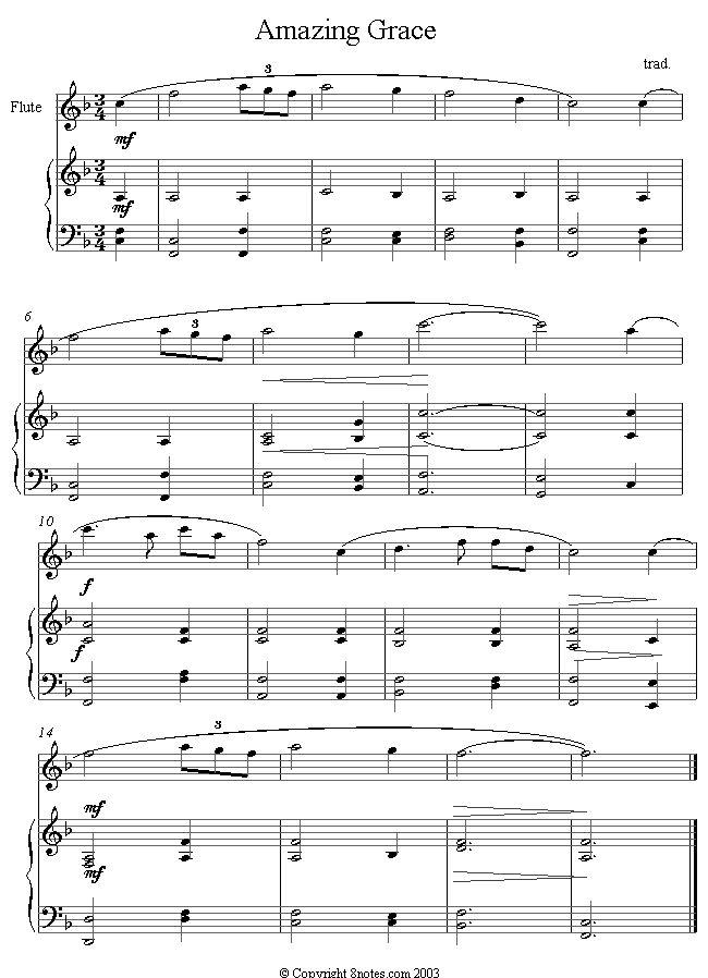 Amazing Grace sheet music for Flute