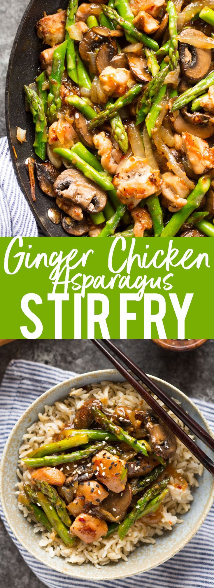 This Ginger Chicken Asparagus Stir Fry is a quick and healthy dinner.