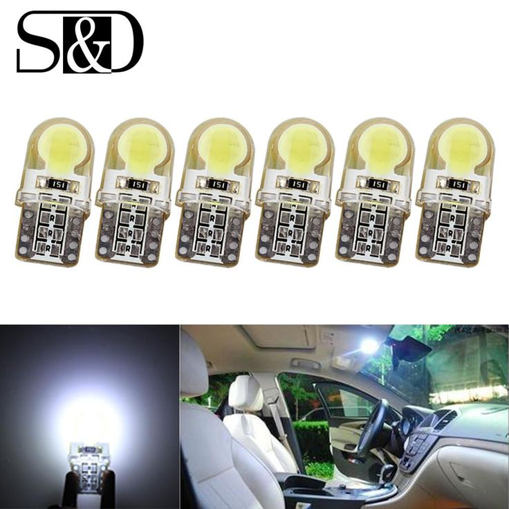 6 X Auto T10 LED W5W Bulbs White 194 168 COB silicone shell Car LED Lights Super Bright Turn Side License Plate Lamp 12V D030